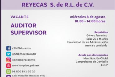 REYECAS solicita: auditor supervisor