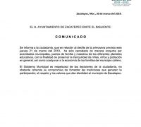 CANCELAN DESFILE DE PRIMAVERA EN ZACATEPEC POR INSEGURIDAD
