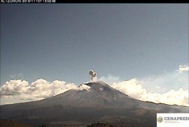 Registra volcán Popocatépetl 84 exhalaciones el día de ayer 7 de noviembre