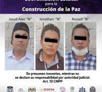 Tres hombres son detenidos por entrar a robar a una casa en el municipio de Emiliano Zapata