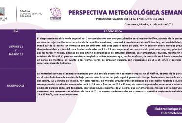 Se mantendrán  lluvias y ambiente templado para fin de semana en Morelos